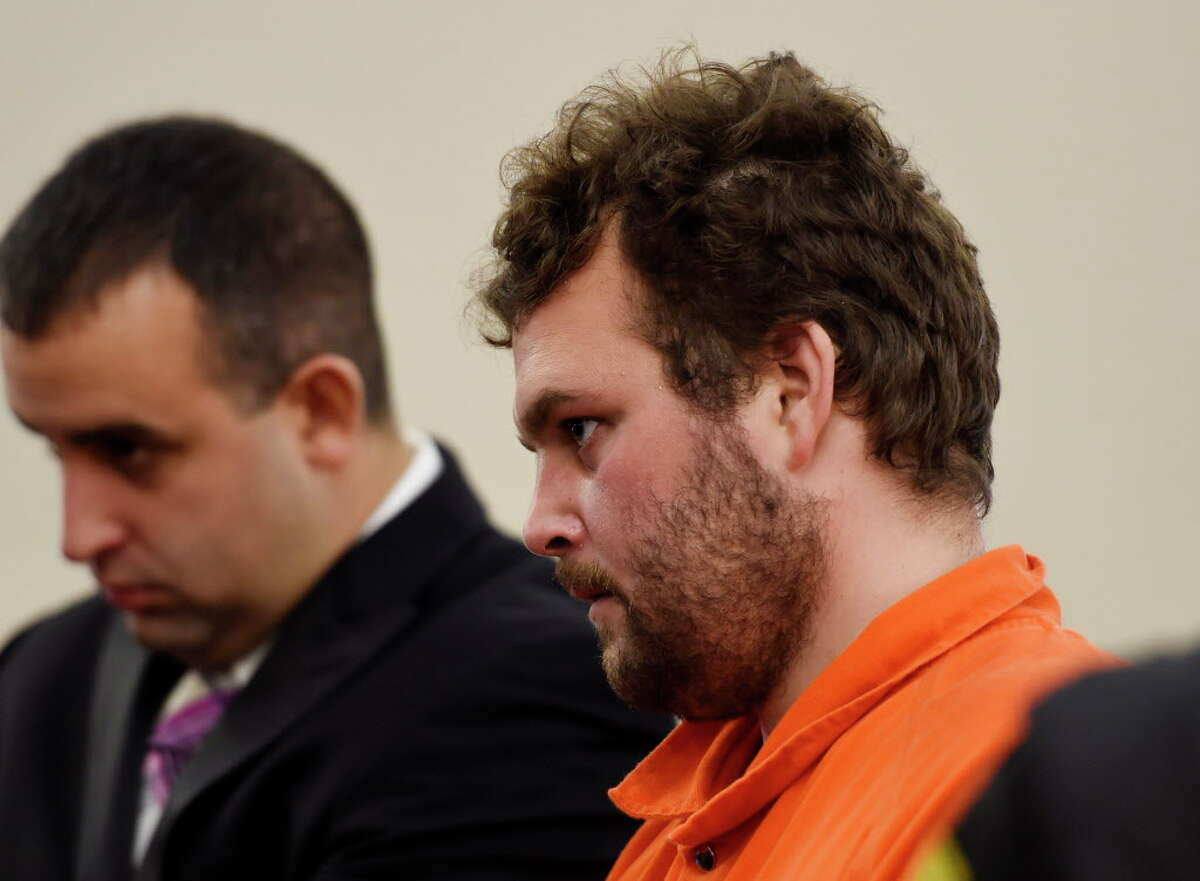 Alleged wheelman in the Salon murder in Colonie, Sean Moreland stands at the bar and refuses his plea deal in Albany County Court Friday morning Nov. 13, 2015 in Albany, N.Y. (Skip Dickstein/Times Union)