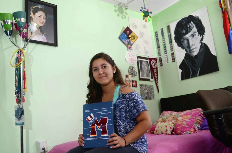 Laura Veira, valedictorian at Brien McMahon High School, at her residence in Norwalk, Conn. June 17, 2016.  Veira proclaimed her status as an undocumented resident to all the attendees at her graduation ceremony. Photo: Erik Trautmann / Hearst Connecticut Media / (C)2016, The Connecicut Post, all rights reserved