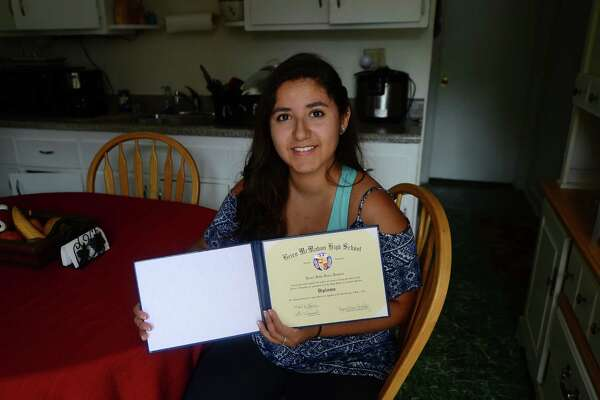 Laura Veira, valedictorian at Brien McMahon High School, at her residence in Norwalk, Conn. June 17, 2016.  Veira proclaimed her status as an undocumented resident to all the attendees at her graduation ceremony.