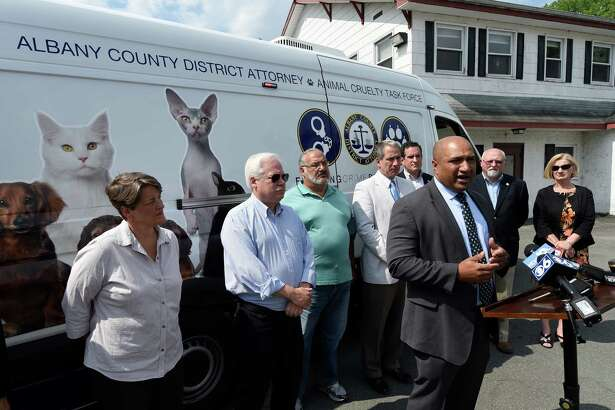 Albany County District Attorney David Soares speaks at the announcement of the completion of funding for the Mohawk Hudson Humane Society's Animal Abuse Response Vehicle Monday June 27 2016 in Menands, N.Y. (Skip Dickstein/Times Union)
