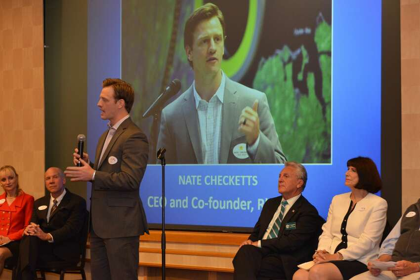 Keynote speaker Nate Checketts, a 2015 40 under 40 winner and a serial entrepreneur whose latest venture is Rhone, a men's active wear line based in Darien, at the Fairfield County Business Journal 40 Under 40 celebration on June 21, 2016.