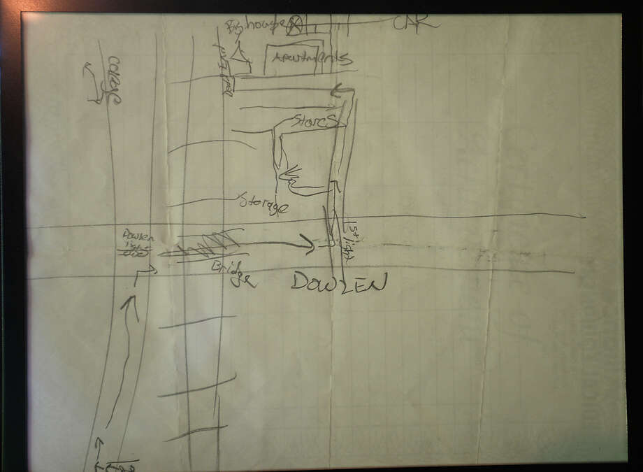 A map detailing the location of step-sister Kayla Meinscher's stolen car was left by Herbert Ballance, IV, along with other notes he wrote the day of his death. Several months after Herbert Ballance, IV, was fatally shot by a Beaumont police officer outside his trailer home, questions as to the details of the incident remain. Ballance's trailer resides next to that inhabited by his step-mother Monika Ballance and step-sisters. The family had called police several times that day after Ballance stole his sister's car. He also stole a gun from his step-father that morning. After firing the gun inside his trailer as police swarmed the area, Ballance was shot and killed by officer Chase Welch upon exiting his home. Photo taken Wednesday, June 22, 2016 Kim Brent/The Enterprise Photo: Kim Brent / Beaumont Enterprise