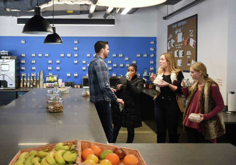 Indeed employees grab lunch in the main dining room at the Indeed Stamford Headquarters in Stamford, Conn. Thursday, Feb. 18, 2016. Photo: Tyler Sizemore / Hearst Connecticut Media / Greenwich Time