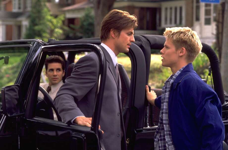"Harrison (right) made a name for himself on Showtime's ""Queer as Folk,"" with Gale Harold (center) and Hal Sparks. Photo: L. PIEF WEYMAN, AP"