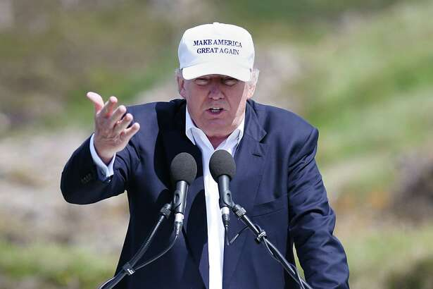 U.S. presidential hopeful Donald Trump speaks Thursday at his Turnberry resort in South Ayrshire, where his golf course has been revamped.  Reactions to Brexit and to Trump's political popularity have been similar.