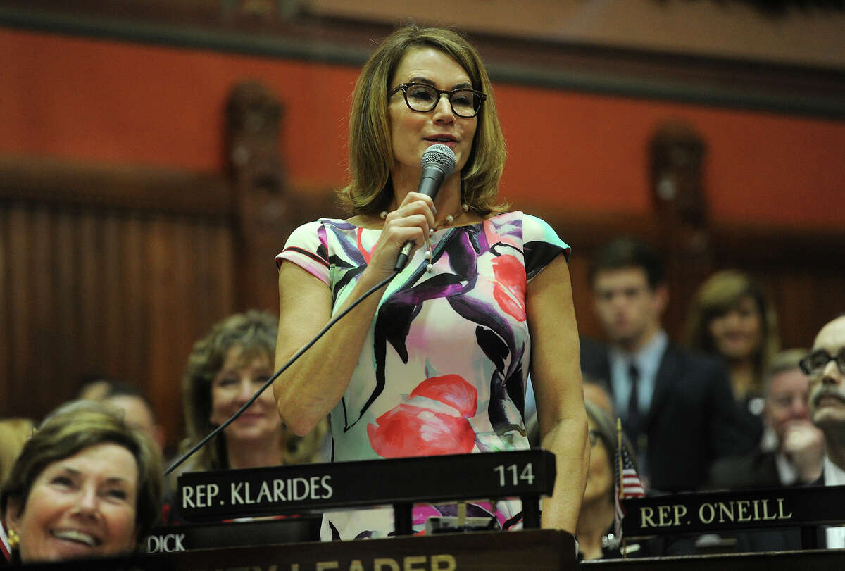 House Republican Leader Themis Klarides, R-Derby, speaks during the opening session of the General Assembly at the Capitol in Hartford on Feb. 3.