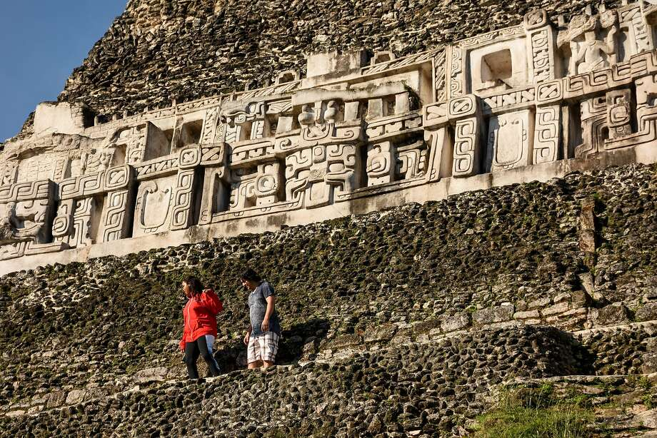 Frescos on the Mayan temple of Xunantunich outside San Ignacio. Photo: Margo Pfeiff