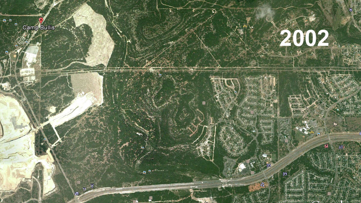 Camp Bullis area, north of Highway 1604 Google Earth images reflect how San Antonio has developed since 2002. The city is expected to add another 1.1 million residents over the next 25 years.