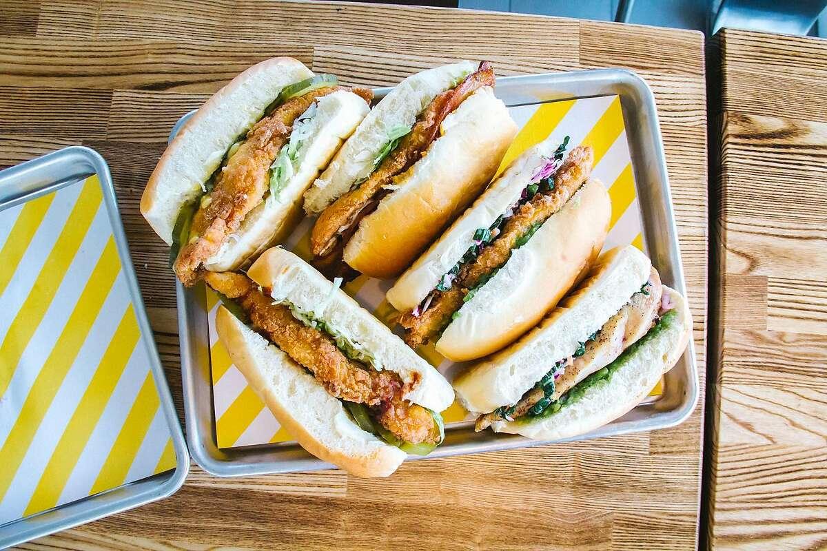 An assortment of sandwiches at Starbird Chicken