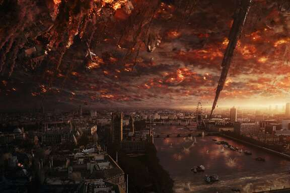 """London's burning No, this is not an artist's rendering of what """"Remain"""" forces predict after the Brexit vote ... but perhaps """"Independence Day"""" was not the most appropriate film to quote by """"Leave"""" supporters - considering London gets destroyed in the current sequel, """"Independence Day: Resurgence."""" Now the question is: How will the UK exiting the EU affect film and TV production there?  Photo from """"Resurgence"""" / Courtesy of Twentieth Century Fox Film Corporation"""