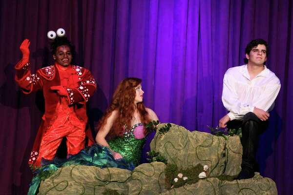 """Jeremy Bilbo (from left), Kate Ragan and Anthony Castro star in the Woodlawn Theatre's staging of Disney's """"The Little Mermaid."""""""