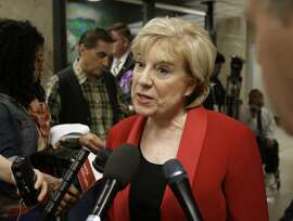 California Senate Minority Leader Jean Fuller, R-Bakersfield, talks to reporters about Gov. Jerry Brown's revised 2016-17 state budget plan released Friday, May 13, 2016, in Sacramento, Calif. (AP Photo/Rich Pedroncelli)