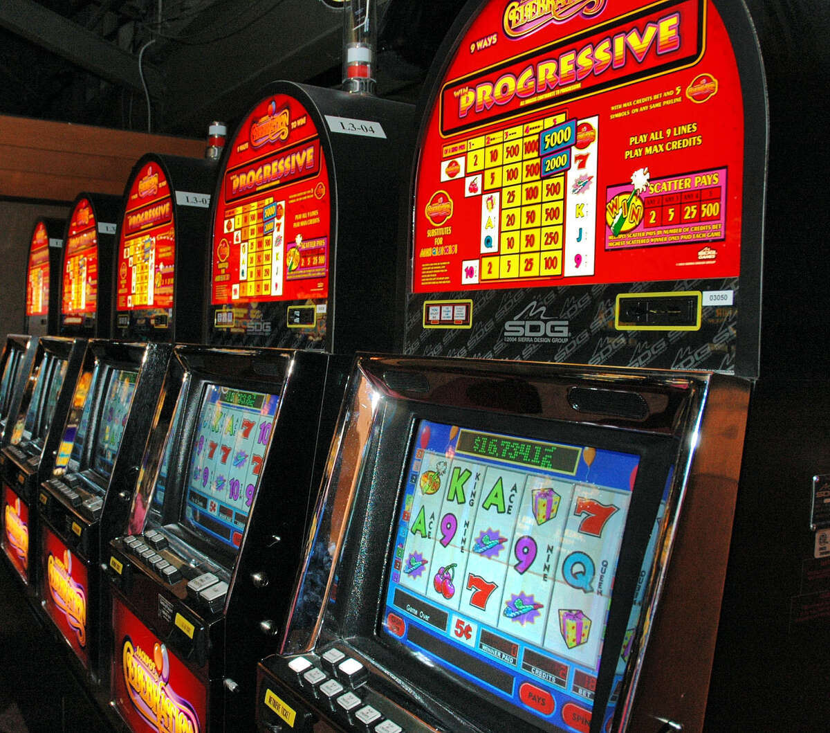 A bank of VLT's, at the Saratoga Casino Hotel on Tuesday, Jan. 24, 2006. City's like Saratoga Springs that host VLTs are provided state aid. However, Gov. Andrew Cuomo is considering eliminating the aid from the state's 2022 budget.