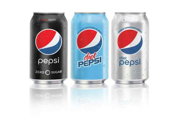 This image provided by PepsiCo shows, from left, Pepsi Zero Sugar, Diet Pepsi Classic Sweetener Blend and Diet Pepsi. PepsiCo says it will offer Diet Pepsi Classic Sweetener Blend made with aspartame starting in September.