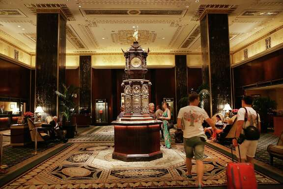 The lobby is one of the highlights of New York's landmark Waldorf Astoria hotel.