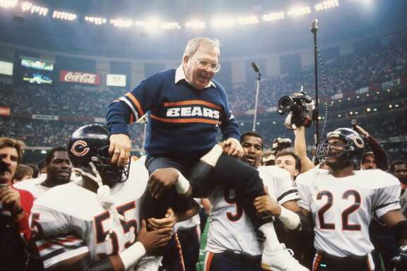 NEW ORLEANS, LA - JANUARY 26, 1986:  Defensive coordinator Buddy Ryan is held aloft by members of his defense including Otis Wilson #55, Richard Dent #95 and Dave Duerson #22, of the Chicago Bears, during Super Bowl XX on January 26, 1986 against the New England Patriots at the Superdome in New Orleans, Louisiana.  The Bears beat the Patriots, 46-10. Buddy Ryan8601 (Photo by:  Kidwiler Collection/Diamond Images/Getty Images)