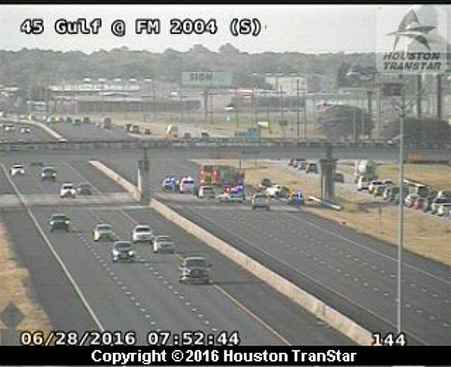 Portions of southbound Interstate 45 were blocked near Delaney Tuesday, June 28, 2016, after a crash in Galveston County. (Houston TranStar)