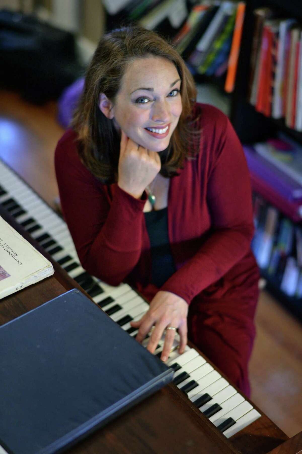 Soprano Carla Fisk in the teaching and studio space at her home on Tuesday, May 24, 2016, in Albany, NY. (John Carl D'Annibale / Times Union)