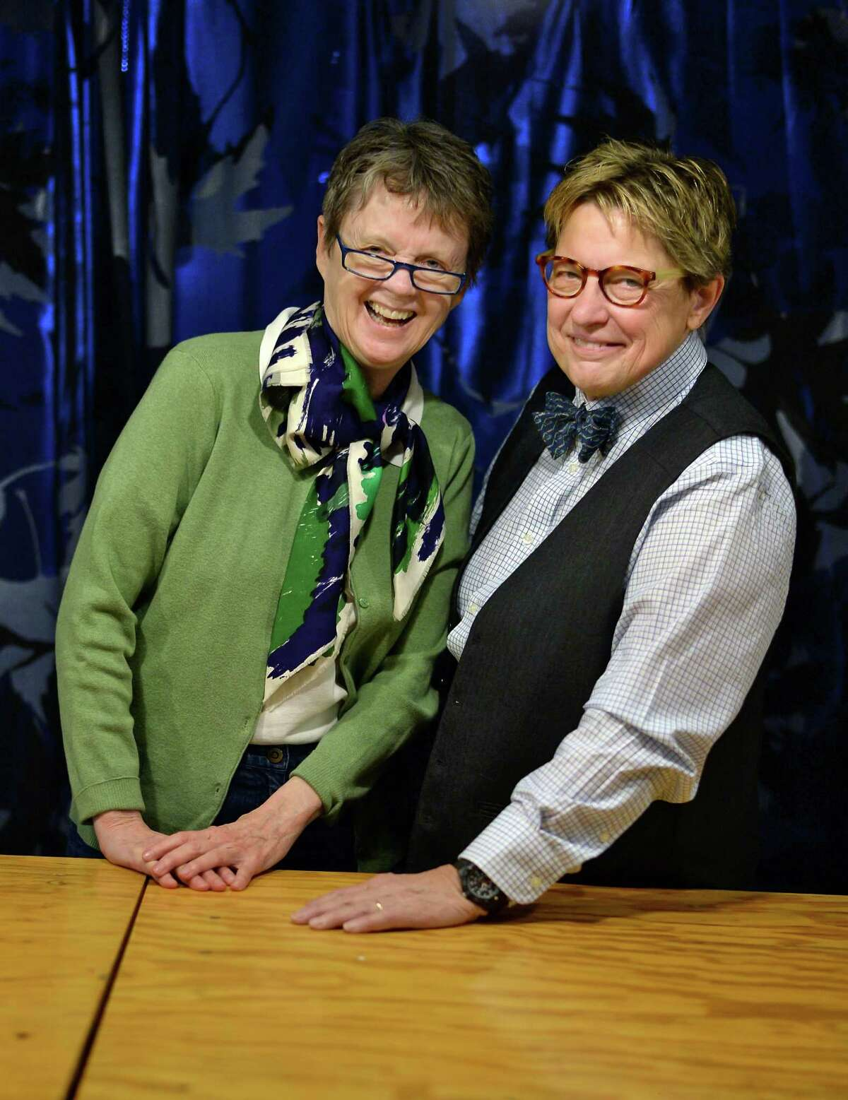 Co-directors Claudia Bruce, left, and Linda Mussmann at their Time and Space Limited arts center on Tuesday, May 24, 2016, in Hudson, NY. (John Carl D'Annibale / Times Union)