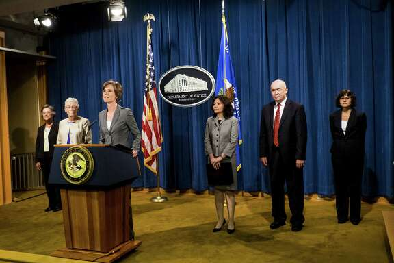 Deputy Attorney General Sally Q. Yates speaks during a news conference Tuesday at the Department of Justice in Washington, D.C. Volkswagen has agreed to nearly $15 billion in a settlement over emissions cheating on its diesel vehicles.