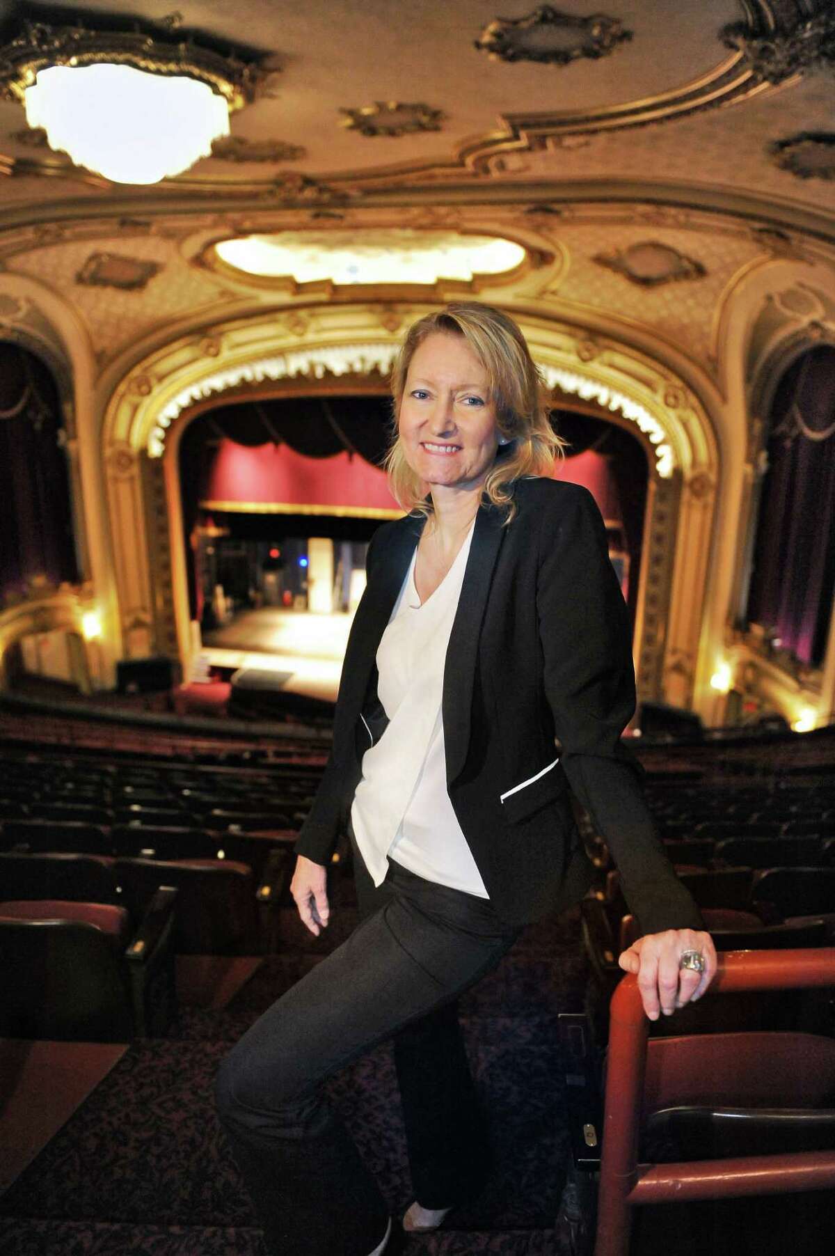 Holly Brown, executive director of the Palace Theatre, stands in the balcony on Wednesday, May 25, 2016, at the Palace Theatre in Albany, N.Y. (John Carl D'Annibale / Times Union)