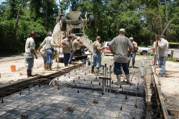 A Harris County Precinct 4 crew recently worked to pour cement for the base of the net-zero facility at Carter Park, 7221 Treaschwig Road in Spring.