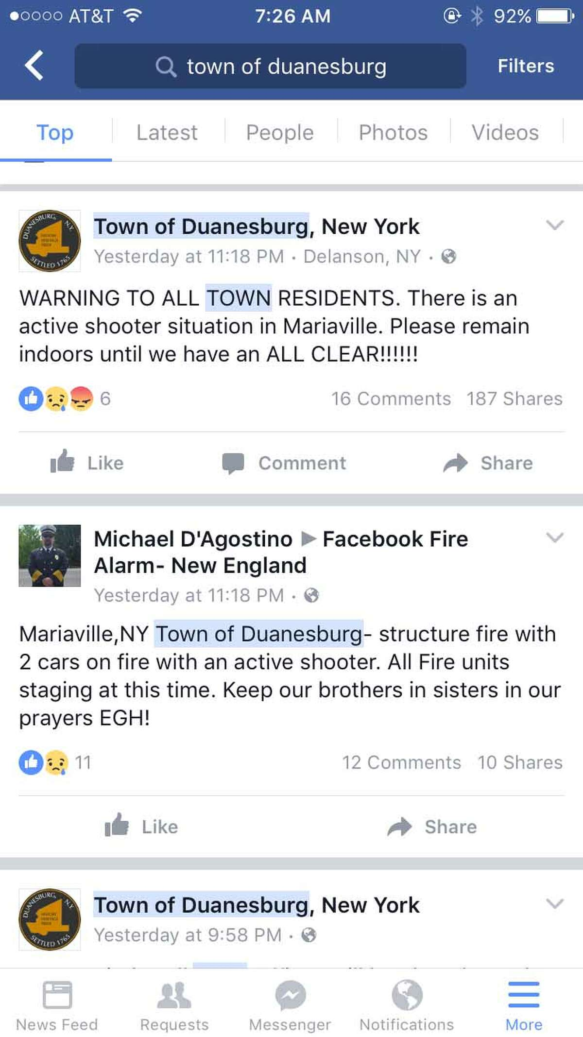 The town of Duanesburg posted these two message late Monday as State Police investigated a fire and reports of gunshots on Mariaville Scotch Churches Road. Later, State Police said there was no active shooter but they were investigating the possiblity that a gun was fired. (Facebook)