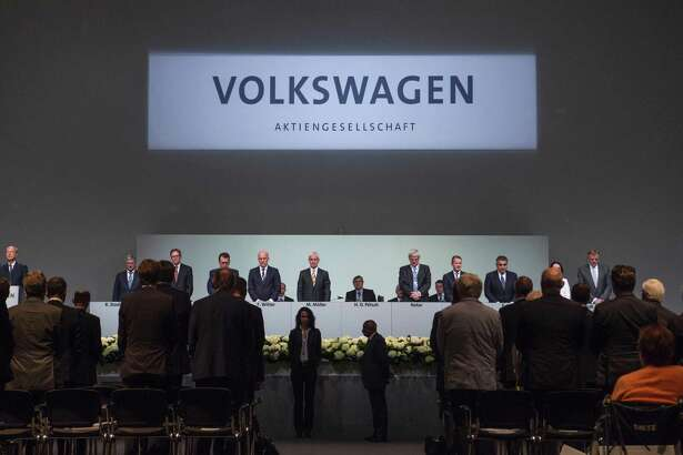 Volkswagen executives at the company's annual meeting with shareholders on June 22, 2016 in Hanover, Germany.