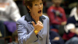 Tennessee coach Pat Summitt instructs her team during their win over BYU on March 23, 2002 at the Hilton Coliseum in Ames, Iowa.