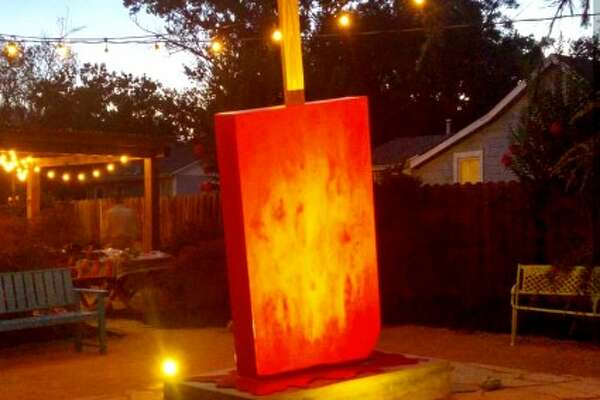 """""""Ordinaced Out,"""" the paleta sculpture David Blancas made and is situated on the yard of a home in Pleasanton, Calif."""
