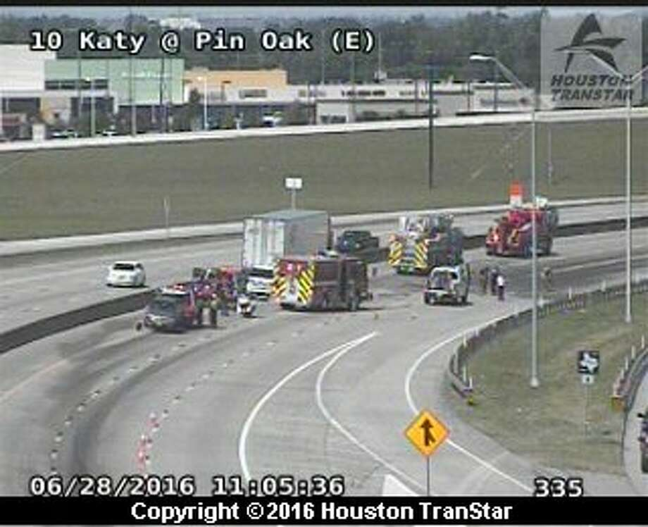 Portions of westbound Interstate 10 were temporarily shut down about 10:15 a.m. Tuesday, June 28, 2016, after a big-rig crash near Pin Oak in Fort Bend County. (Houston TranStar.)