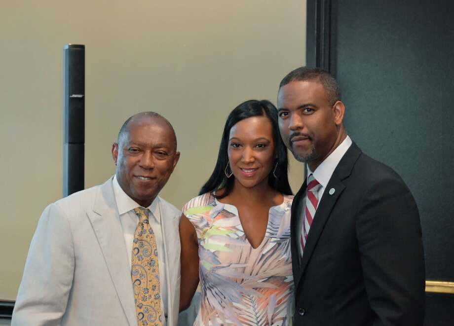Mayor Sylvester Turner, and TSU's new president Dr. Austin Lane, right, and his wife, Loren Lane.  Photo: TSU, Dr. Austin Lane, Houston