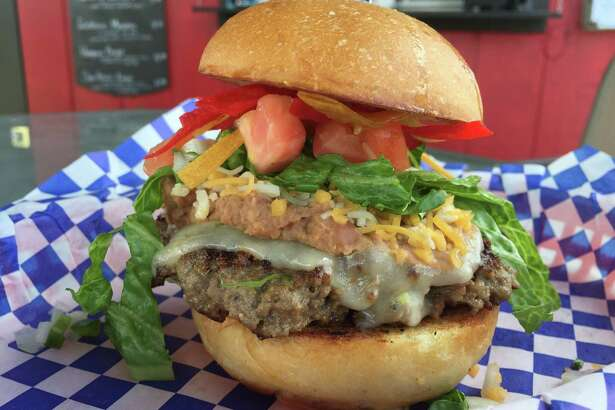 The San Antonio Burger at Mr. Tim's Burgers & More is a version of a classic beanburger.