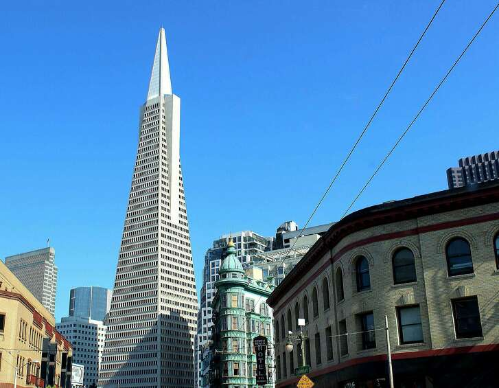 A view of the Transamerica Pyramid from the heart of North Beach in San Francisco.