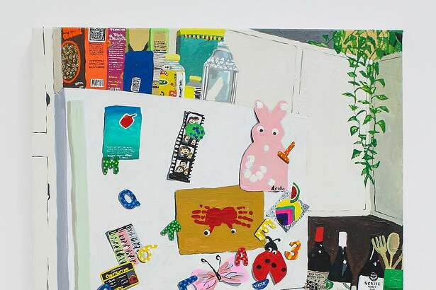 """Hilary Pecis's acrylic on canvas work """"Fridge Clutter"""" (2016) appears in """"El Verano"""" through July 10 at Guerrero Gallery."""