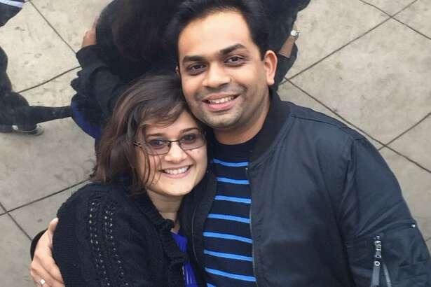 Hiral Sanghavi with his wife, Yoganshi Shah.