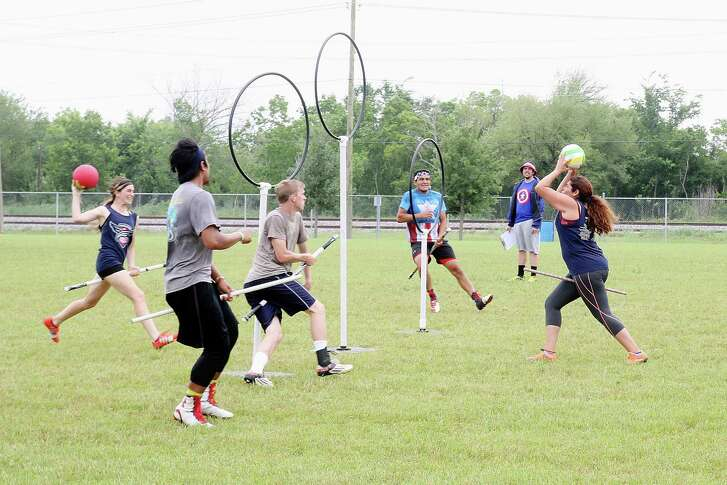 """In Quidditch, players known as chasers must throw, kick or pass a ball called a quaffle through their opposing team's three hoops to score points. The other team's """"keeper"""" works to stop them.         In Quidditch, players known as chasers must throw, kick or pass a ball called a quaffle through their opposing team's three hoops to score points. The other team's """"keeper"""" works to stop them."""