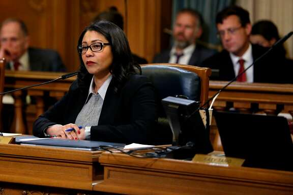 Supervisor London Breed listens to other supervisors during a Board of Supervisors meeting at City Hall in San Francisco, California, on Tuesday, Dec. 15, 2015.
