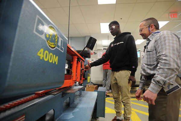 A manufacturing class at Housatonic Community College in Bridgeport, Conn. The school is just one of many participating in the state's new manufacturing challenge.