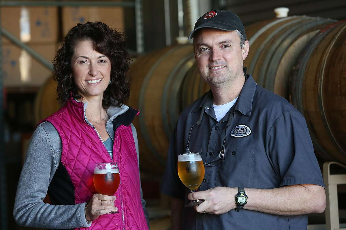Co-owners Natalie and Vinnie Cilurzo show the Russian River Brewing Company production plant in Santa Rosa, Calif., on Monday, October 26, 2015.