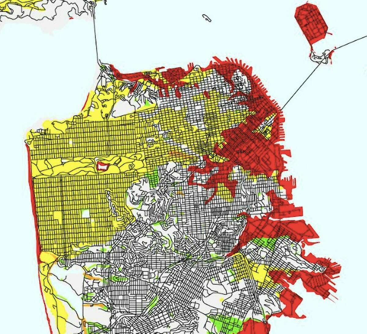 In this USGS liquefaction susceptibility map of San Francisco, areas of very high risk are marked in red, high risk in orange, moderate risk in yellow, low risk in green and very low risk are white.