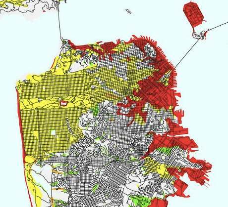 In this USGS liquefaction susceptibility map of San Francisco, areas of very high risk are marked in red, high risk in orange, moderate risk in yellow, low risk in green and very low risk are white. Photo: USGS