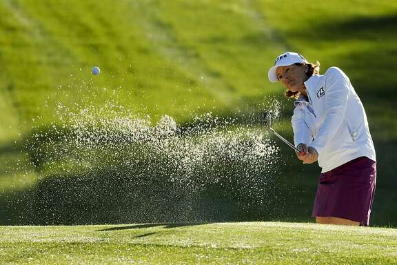 Juli Inkster hits from a bunker on the first hole during the first round of the LPGA Tour ANA Inspiration golf tournament at Mission Hills Country Club, Thursday, March 31, 2016 in Rancho Mirage, Calif. (AP Photo/Chris Carlson)