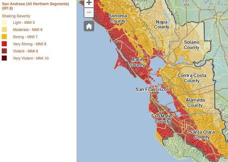 This map measures the expected severity of shaking across the Bay Area in the event of a major earthquake in the northern San Andreas Fault system. Photo: Association Of Bay Area Governments