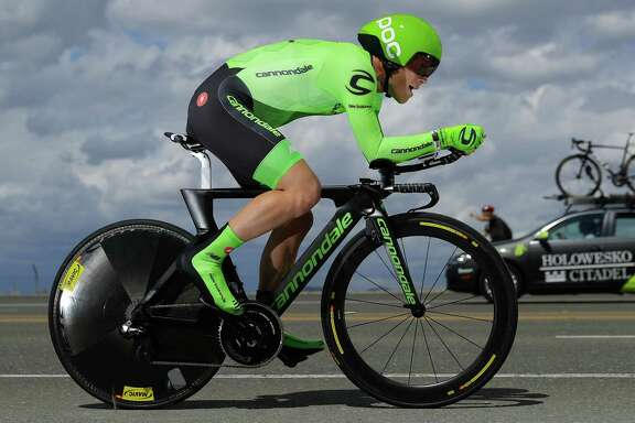 FOLSOM, CA - MAY 20:  Lawson Craddock of the United States riding for Cannondale Pro Cycling races to seventh place in the individual time trial during stage six of the 2016 Amgen Tour of California on May 20, 2016 in Folsom, California.  (Photo by Doug Pensinger/Getty Images)