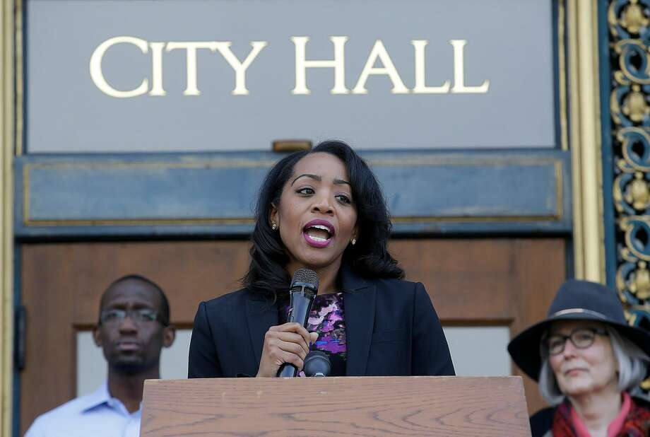 Supervisor Malia Cohen speaks ouside of City Hall in San Francisco. Cohen wants to create a task force to assess the feasibility of establishing a San Francisco-owned bank. Photo: Jeff Chiu, Associated Press