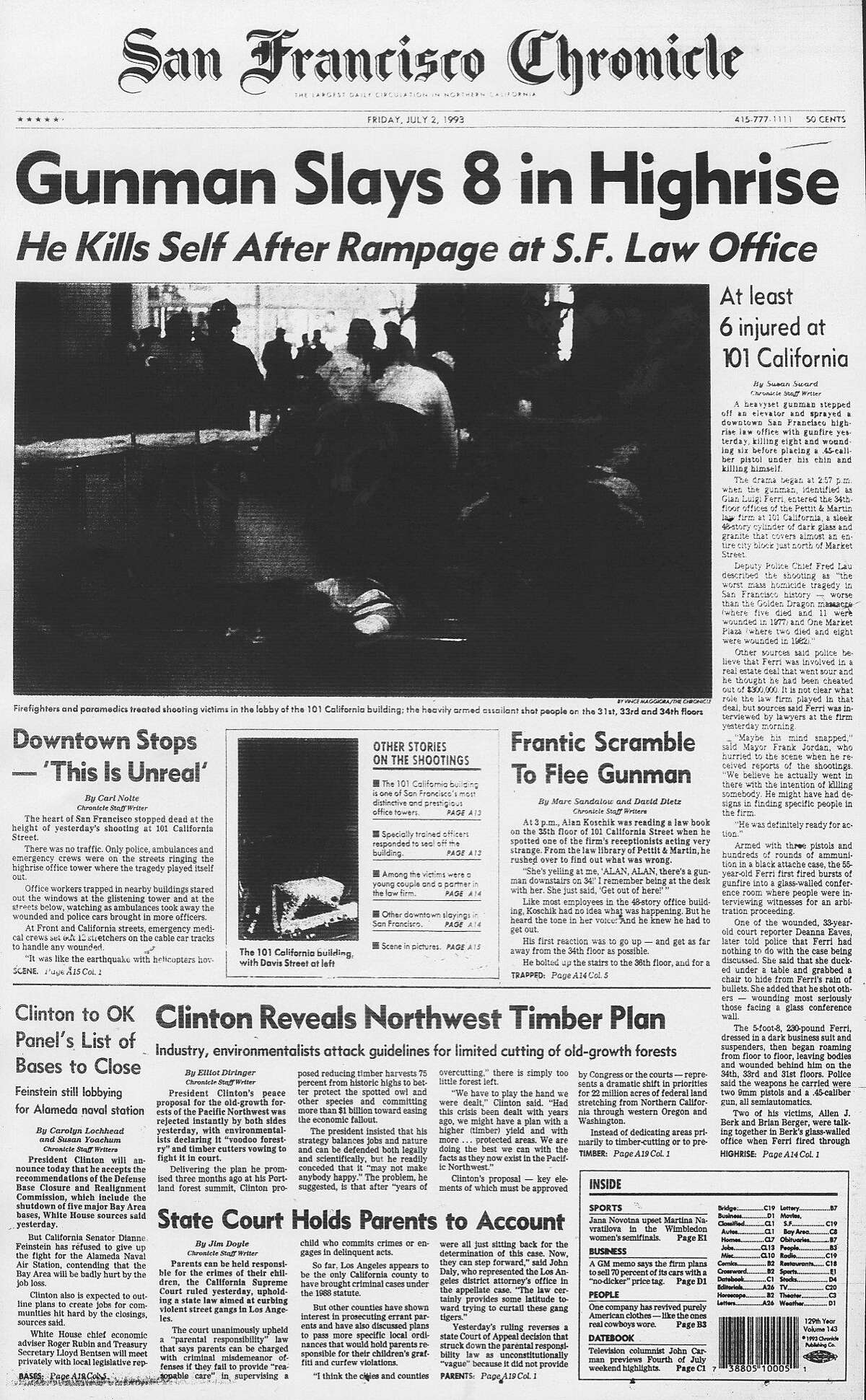 Historic Chronicle Front Page July 02, 1993 front page Gunman kill 8 in 101 California highrise Chron365, Chroncover