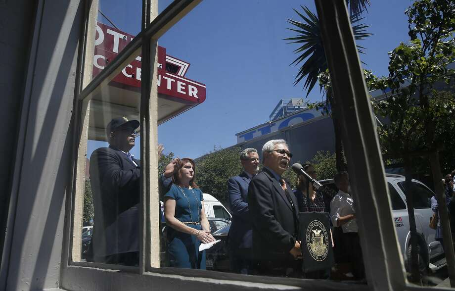 Mayor Ed Lee helps to open the new Navigation Center at the Civic Center Hotel near the corner of Market and 12th streets in San Francisco, California on Tues. June 28, 2016. Photo: Michael Macor, The Chronicle