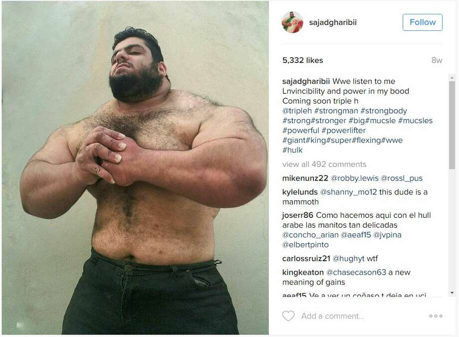 "Sajad Gharibi, a bodybuilder out of the Middle East, is getting a lot more social media buzz for his physique, being dubbed both the ""Iranian Hulk"" and ""Persian Hercules."" Photo: Courtesy/Instagram"