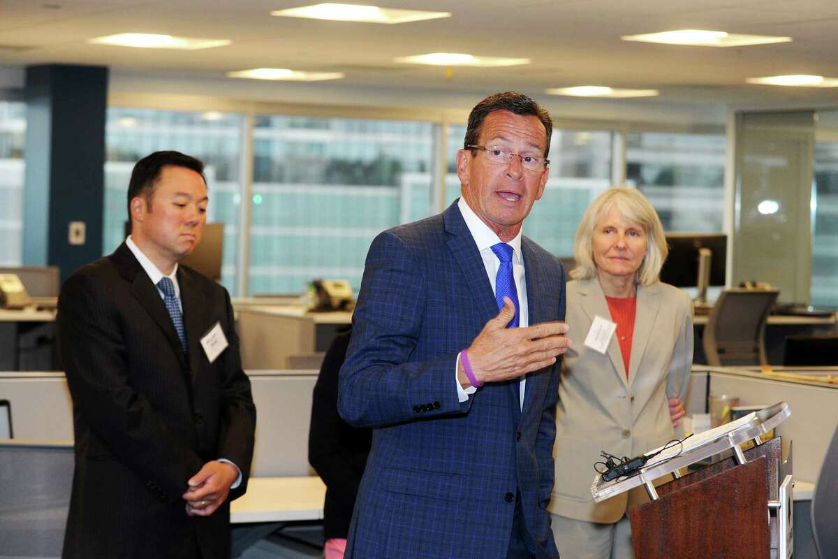 Gov. Dannel P. Malloy speaks during the grand opening ceremony for cyber-security firm BlackStratus inside their new office on West Broad St. in Stamford, Conn. on Tuesday, June 28, 2016.